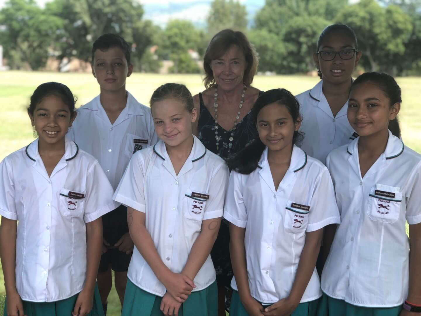Pictured from Left to right (back): Ian van Schalkwyk, Mrs Janet Taylor and Amirah Kader Left to right (front): Fariha Kader, Simoné Brown, Tanisha Kander and Tiana Gangaram